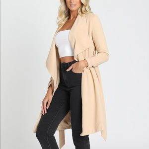 Showpo Tie up Beige Coat New with Tags